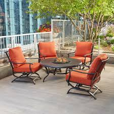 Hampton Bay Redwood Valley 5 Piece Metal Patio Fire Pit Seating Set With Quarry Red