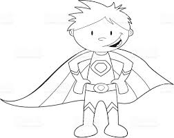 Colour It In Super Hero Template Royalty Free Stock Vector Art