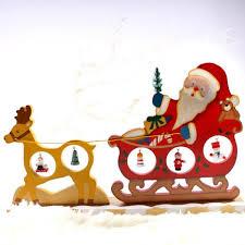 Décoration Noel En Bois Figure Père Noel Dans Charrette Tiré Par