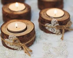 50 Set Rustic Candle Holders Valentine Table Decor Wood Tealight Woodland Wedding Eco