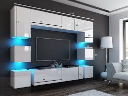 wohnwand quadro weiß hochglanz weiß 228 cm mediawand medienwand design modern led beleuchtung mdf hochglanz hängewand hängeschrank tv wand