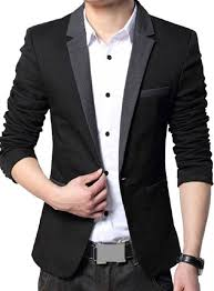 Menjestic Mens Slim Fit Designer Blazer With Grey Lapel Available In Black And 2
