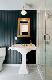 Brooklyn Home Company Park Slope Apartment Cococozy Bathroom Bath Sink Black Beadboard Bead Board Wall Ceiling