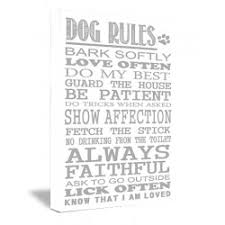 DOG RULES Bark Softly Love Often Do My Best Guard The House Be Patient Tricks When Asked Show Affection Fetch Stick Printed Wall Art Sayings