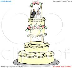 Clipart Illustration of a Bride And Groom Wedding Cake Topper