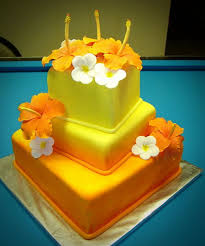 Hawaiian Themed Wedding Cake Yellow Gradation Colors