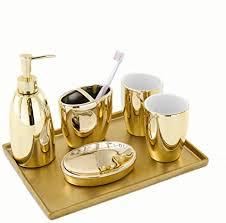 haushaltsbadezimmerzubehörsatz europäische goldene keramik bad accessoires set fünf sätze seifenspender zahnbürstenhalter wash set creative