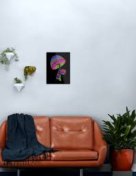 pilze rosa blau grün lila metallbild