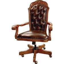 Office Chair Executive Traditional Solid Hardwood Tufted Leather New Free Ship