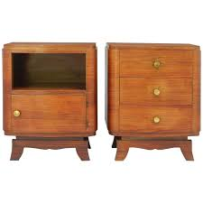 Kent Coffey Blonde Dresser by Pair Of Art Deco Nightstands French Side Cabinets Bedside Tables