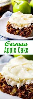 German Apple Cake Covered In A Thick Layer Of Cream Cheese Frosting