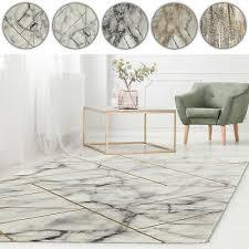 teppich marmor optik kurzflor grau gold silber wohnzimmer design modern läufer