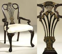 Dining Room Chair With Arms Antique Mahogany And Black Finished Armchair Neutral Fabric Upholstery