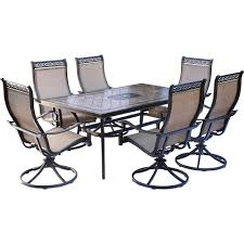 hanover monaco 7 aluminum outdoor dining set with