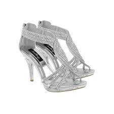 silver metallic diamante high heel occasion sandals crystal
