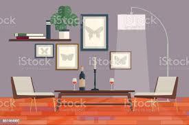 coole grafik wohnzimmer interior design mit möbel bücherregal tisch leuchten haus moderne wohnung design vektorillustration stock vektor und mehr
