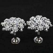 2 X 95mm Glass Crystal Silver Flower Curtain Hold Back Hook Tassel