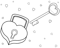 Love Coloring Pages Padlock And Key