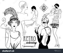 Retro Coloring Book For Kids And Adults Women Of Twenties Vector Illustration