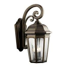 kichler lighting 9034rz courtyard three light outdoor wall mount
