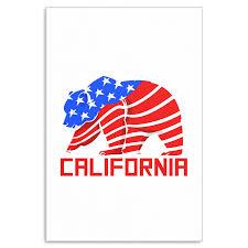 Grizzly Bear California USA American Flag Canvas Art