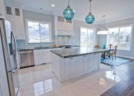 Countertop Kitchen Winning Coastal Ideas Gray Stained Wall Globe Blue Glass Pendant White Paunted Cabinet Black