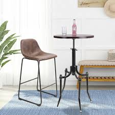 Deep Brown Wood Round Bar Table Metal Legs Height Adjusted ...