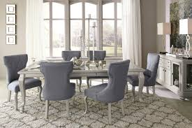 Coralayne Silver Finish 8 Pc. Rectangular Dining Room Extension Table, 6  Upholstered Side Chairs & Server