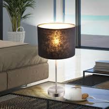 etc shop tischleuchte tisch leuchte schlafzimmer lese le beistell strahler stoff schwarz im set inkl led leuchtmittel kaufen otto