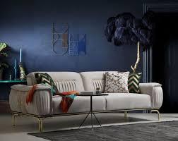 casa padrino luxus wohnzimmer sofa mit verstellbarer rückenlehne grau beige gold 223 x 93 x h 78 cm luxus wohnzimmer möbel