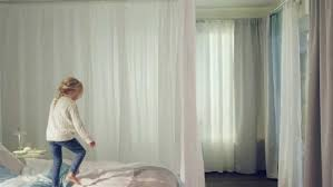 White Hang Kvartal Curtain With Track For Interesting Bedroom Decor