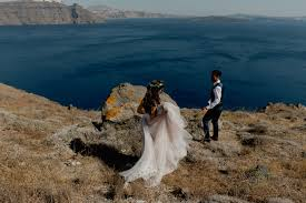 100 Aenaon Villas Stunning Santorini Elopement At With Watters Wedding Dress