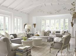 Monochromatic Decorated Coastal Living Room With A White And Grey Palette