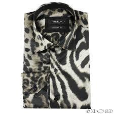 mens italian designer style smart casual silk feel leopard animal