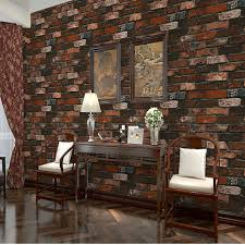 Thick Heavy PVC Adhesive Wall Paper Rustic Pattern Faux Textured Brick Effect Wallpaper For Bedroom