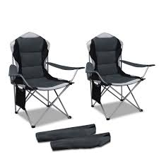 Details About 2 PCS Foldable Camping Chair Portable Outdoor Picnic Armchair  High Padded Back