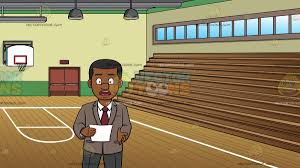 A Black News Anchor Holding Cue Card While Reporting At School Gymnasium With Basketball