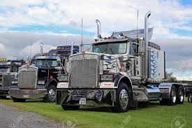 100 Show Semi Trucks ALAHARMA FINLAND AUGUST 12 2016 Two Classic Kenworth W900
