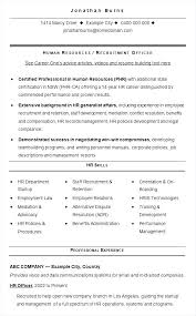 Sample Resume For Hr Samples Resumes Examples 2018