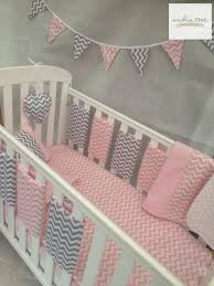 Amazing Pink and Grey Chevron Bar Bumper Cot Bedding Set