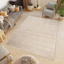 boho teppich modern fransen langflor shaggy beige wohnzimmer
