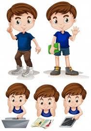 Little Boy Doing Different Activities Illustration