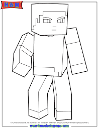 Minecraft Character Steve Looking Around Coloring Page