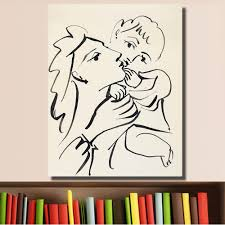 HDARTISAN Mother Child Brush India Ink On Paper Oil Painting