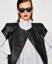 leather effect jacket with short sleeves jackets woman zara