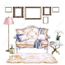 wohnzimmer mit böhmischem chic interieur aquarell illustration