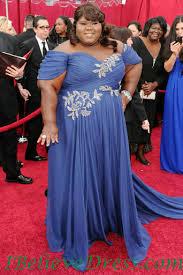 Evening Dresses Red Carpet by Chiffon Gabourey Sidibe Blue Plus Size Evening Gowns Oscar Dress