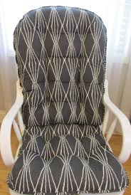 Glider Or Rocking Chair Cushions Set In Charcoal Grey With Ivory/White  Handcut Shapes,Baby Nursery Rockers, Dutailier
