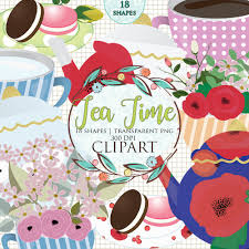 Tea Time Clip Art Set Clipart Breakfast Cups Pot Poppies Cherry Blossom Japanese Flowers French Macarons