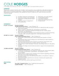 Teachers Resume Examples Assistant Teacher Example High School 2014